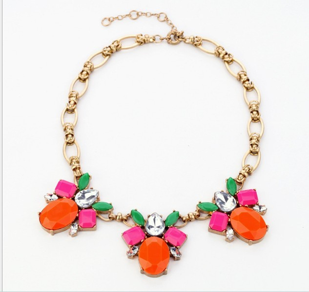 2013 Brand New fashion accessories gift retail alloy jewel ms candy color necklace manufacturer Free Shipping(China (Mainland))