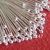 Free shipping SILVER PLATED BALL PINS HEADPINS 40MM, Headpins Ball, 100pcs/lot