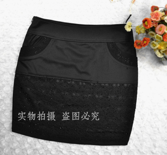 2013 spring dress slim hip short skirt black half-length skirt formal(China (Mainland))