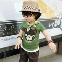 Wholesale Kids O-Neck T-Shirt Boy's Cartoon Tees, Animal Pattern Design, Summer Wear, Free Shipping K0488