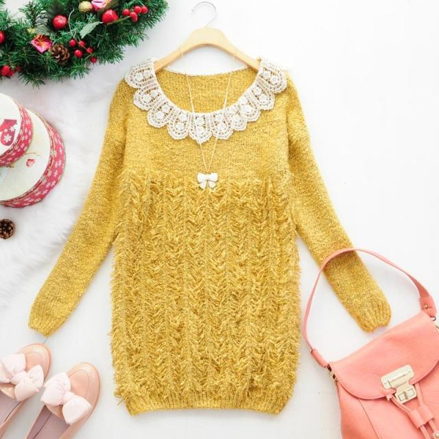 Free shippingSpot wholesale winter clothes Korean lace crochet decorative tassels solid color circle of velvet loose women's swe(China (Mainland))