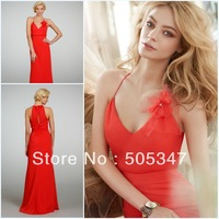 Elegant Style Spaghetti Strap 2013 Long Chiffon Fashion Designer Red Bridesmaid Dresses