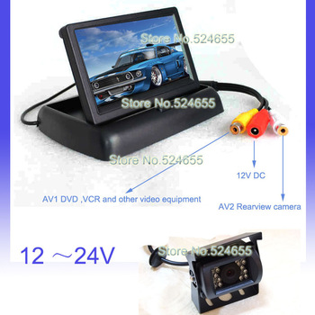 12V~24V bus car camera truck  rear camera night vision waterproof and car LCD TFT monitor backup camera system free shipping