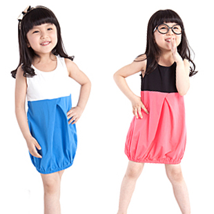 Children&#39;s clothing summer female child 2013 100% cotton block color child vest one-piece dress princess dress baby skirt kid&#39;s(China (Mainland))
