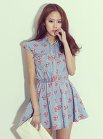 Fashion print elastic waist denim shirt one-piece dress sleeveless vest short skirt big tongue