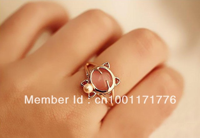 6147 accessories bow tie pearl kitten cat gem ring finger ring(China (Mainland))