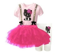 2013 new kids hello kitty dress+legging set cartoon KT clothing suit tutu dress clothes sets wholesale 5set/lot free shipping