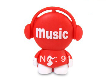 Free Shipping Silicone Cartoon USB 4GB 8GB 16GB Cute Music Girl USB Pen Flash Drive 10pcs/lot(China (Mainland))