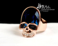 Free shipping vintage women rings/American-European style  skull 18k gold plated women ring set