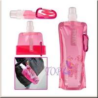 200pcs/lot Outdoor Sports Water Bottles Bag Portable Folding water bag Cartoon with hook holder Aluminum Alloy Buckle 480ml 16oz