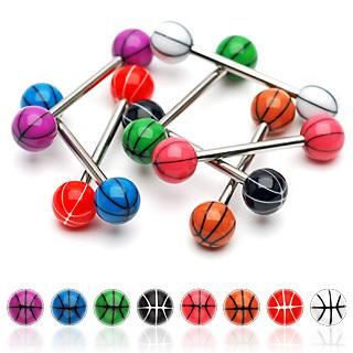 free shipping basketball style uv balls tongue ring piercing jewelry lots mix colors 200pcs