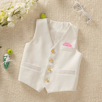Male Child formal vest suit  gold button white  and black