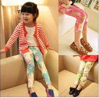 Free Shipping Wholesale 13 spring new arrival clothes for kids girls lovely flower pants litter girls peony trousers /y162