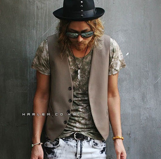man punk style korean Brief summer all-match V-neck 4 buckle small vest w60(China (Mainland))