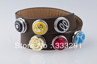 2013 New Double Bracelet Leather Jewelry Bracelet With Metal Wholesale Free Shipping  NA118