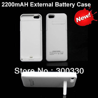 2200mAh External Backup Battery Charger Case With stand for iPhone 5  50pcs/lot Free shipping by dhl