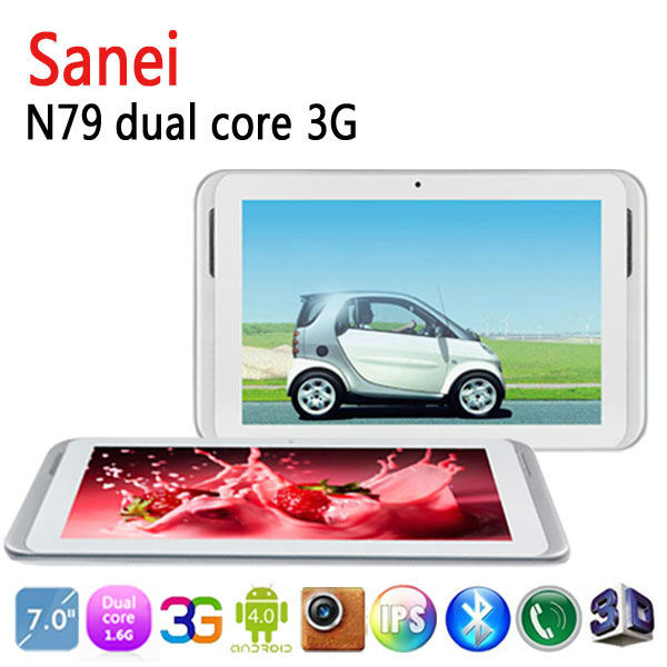Free Shipping 7'' IPS 1024*600 Qualcomm8625 Dual Core Sanei N79 3G Phone Call Android tablet pc 3g sim card slot HDMI GPS OTG(China (Mainland))