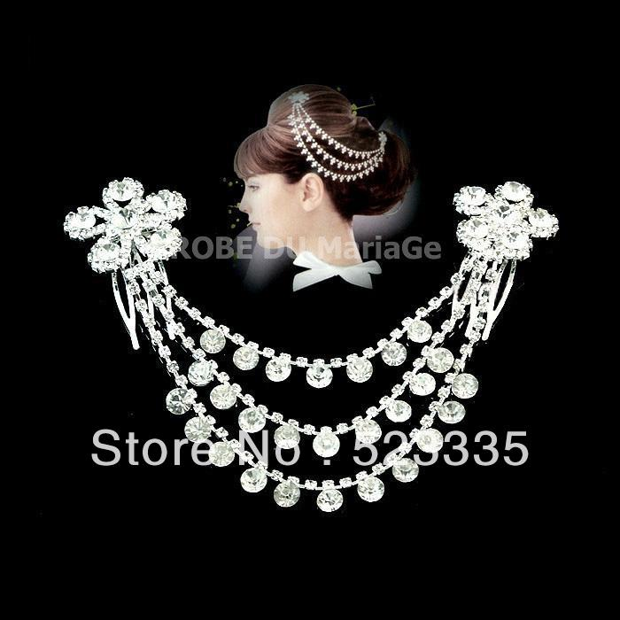 Free Shipping Acrylic Hairwear Best Gift For Beautiful Bride Stainless Steel Lovely Wedding Accessory(China (Mainland))
