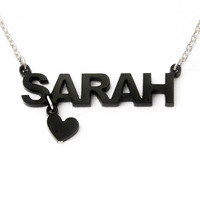 Fashion acrylic necklace name necklace with drop heart