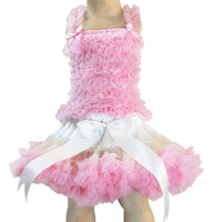 Factory directly,reasonable price,child clothing,girl&#39;s pettiskirt,pink top+ ivory skirt with pink ruffle ,5sets/lot