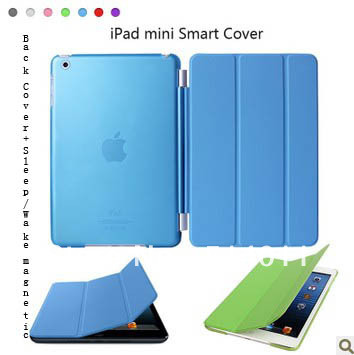 wholesale Clear Color Hard Back Cover+Stand Sleep/Wake function PU Leather magnetic7.9 inch Slim Smart Cover Case for iPad Mini(China (Mainland))