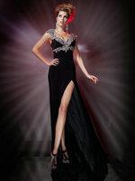 Mermaid Evening Dresses 2013 V-neck Exquisite Appliques Off-shoulder Cut Out Black Evening Dress Formal