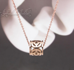 2013 chinese style lucky coins rich transport wheel titanium rose gold necklace chain female(China (Mainland))