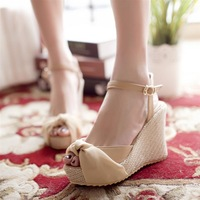 Ribbon tie bow open toe wedges sandals female shoes platform high-heeled shoes