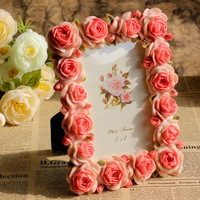 "Size 4 x 6"" Full Pink Color Rose Flowers Photo Frames Resin Craft Sweety Lover Gift Home Decoration Free Shipping"
