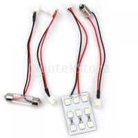 Free Shipping T10 Car Interior Dome Bulb 9 SMD 5050 LED Light - White