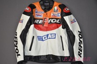 Free shipping wholesale-2012New Moto GP motorcycle REPSOL Racing Leather Jacket size S to XXXL