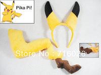 Free Shipping! Japan Anime Pokemon Pikachu Costume Animal Cosplay Kigurumi   Pajamas Cartoon ear and tail  props set