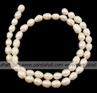 Grade A Freshwater Pearl Strands,  Natural,  Rice,  White,  about 6~7mm wide,  hole: 1mm,  about 15-Inch per strand