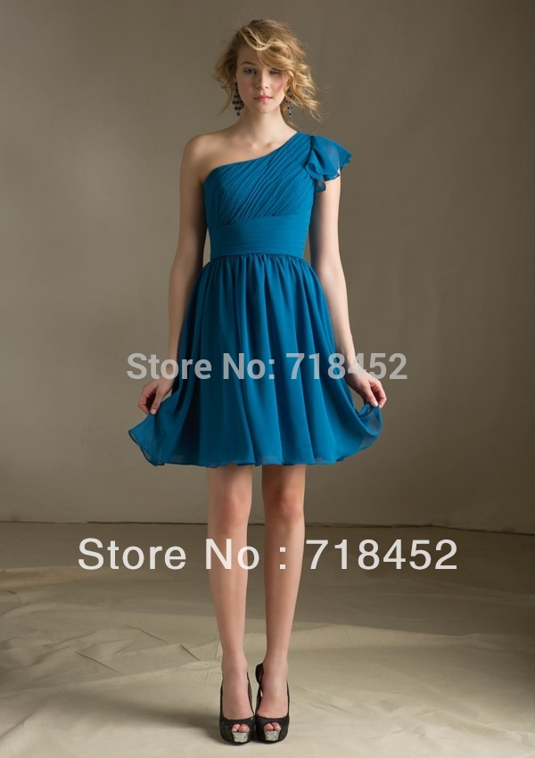 Custom Short Bridemaid Dresses One Shoulder 2013 Chiffon Turquoise MB017(China (Mainland))