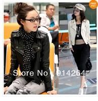 New Women Punk Zip Rivet Lapel Blazer Coat PU Leather Motorcycle Moto Jacket Top    free shipping