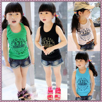 Print letter candy color thread all-match female child vest 8219