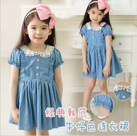 Summer new arrival 2013 girls clothing female pure child one-piece dress denim one-piece dress 3013