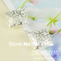 Free shipping!! 26*29mm Sterling Silver Filigree cage  Brass Cage Pendants;pearl cage,Square lockets,Shiny Silver Cage Pendant