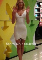 2013 New Arrival Women V neck HL Elastic Knitted White Bandage Dress Red Ladies Club Party Dress Evening Dresses Dropshipping