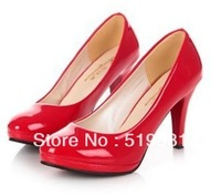 Free shipping 2013 NEW Single shoes platform high-heeled shoes women's shoes black white work shoes red bride wedding shoes 880