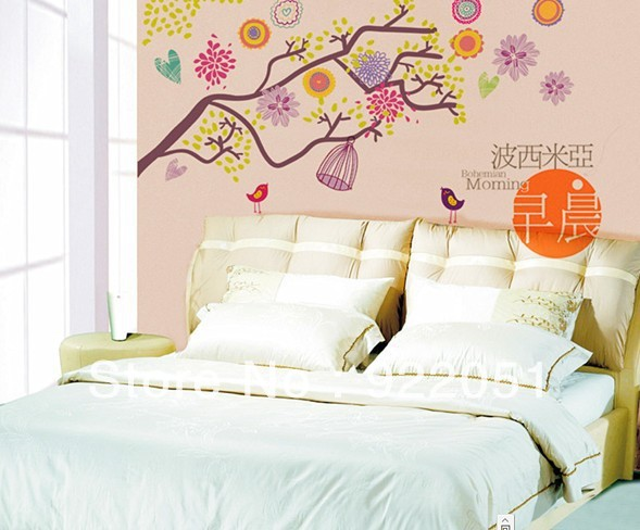 FREE SHIPPING Interior wall stickers living room bedroom background PVC beautiful trees and flowers Wall Stickers(China (Mainland))