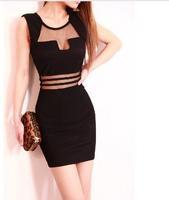 New Bandage Dress 2013 Sheath Mini O-Neck Tank Solid Sequined Slim Hip Sexy For Women Black Dresses