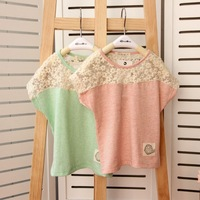 2013 new boutique children's clothing lace stitching loose bat sleeve T-shirt with short sleeves of the girls