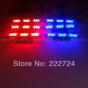 6*9 54 LED car styling Red&Blue Warning Blinking Strobe Flash /Lightbar Deck Dash Grille LED EMERGENCY STROBE LIGHTS 3 Mode 12V