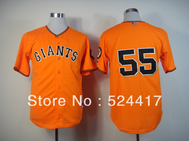 Free shipp. San Francisco Giants #55 Tim Lincecum Cool Base Orange baseball Jersey, Stitched Embroidery Loges(China (Mainland))