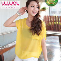 the blouse all-match spring perspectivity short-sleeve female plus size top sunscreen chiffon shirt woman the top