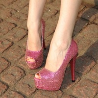 Free shipping ladies fashion pumps double layer platform open toe serpentine pattern high-heeled shoes elevator shoes