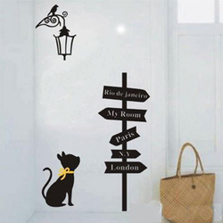 Free Shipping Street Light Cat Road Sign Wall Sticker Living Room Bedroom Decor Mural Art Vinyl Home Decoration Decal W335(China (Mainland))