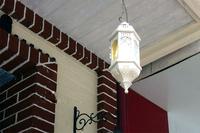 "5.5"" Morocco figured glass Balcony Chain Pendant Light White Hollow Iron Tower Free Shipping Romantic Corridor Pendant Light"