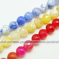 Natural Crackle Agate Beads Strands,  Dyed,  Faceted,  Round,  Mixed Color,  10mm,  Hole: 1mm